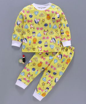 Ollypop Full Sleeves Printed Night Suit - Yellow