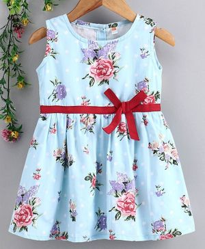 Dew Drops Sleeveless Floral Printed Frock - Light Blue