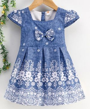 Dew Drops Cap Sleeves Floral Printed Frock - Blue White