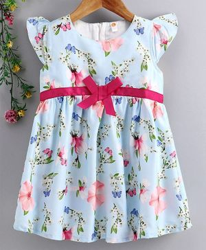 Dew Drops Cap Sleeves Floral Printed Frock - Light Blue