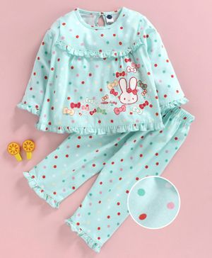 Teddy Full Sleeves Night Suit Polka Dot Print - Blue