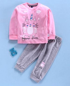 Teddy Full Sleeves Tee with Lounge Pant Kitten Print - Pink Grey