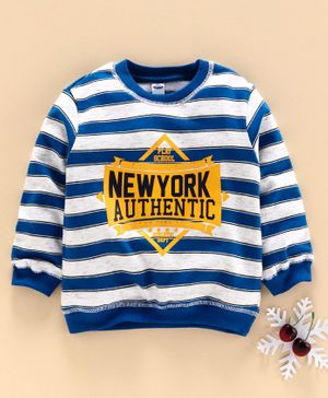 Teddy Full Sleeves Winter Wear Tee New York Print - Blue White