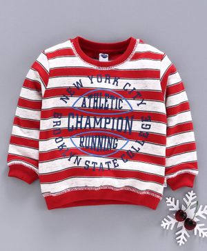 Teddy Full Sleeves Winter Wear Tee New York Print - Red White