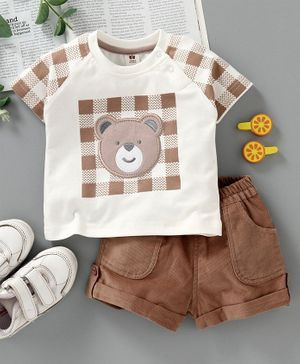 ToffyHouse Half Sleeves Tee & Shorts Bear Patch - Brown White