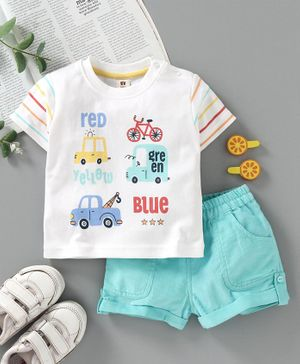 ToffyHouse Half Sleeves Tee & Shorts Vehicle Print - Blue White