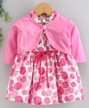 Dew Drops Short Sleeves Frock with Full Sleeves Shrug Fruit Print - Pink