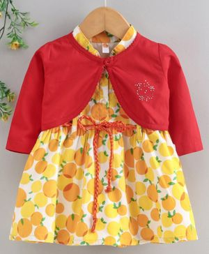 Dew Drops Short Sleeves Frock with Full Sleeves Shrug Fruit Print - Yellow