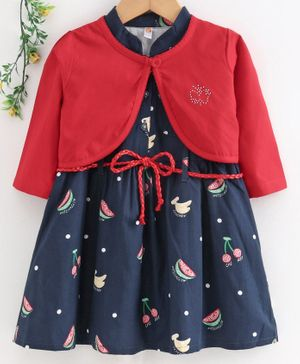 Dew Drops Short Sleeves Frock with Full Sleeves Shrug Fruit Print - Navy Blue
