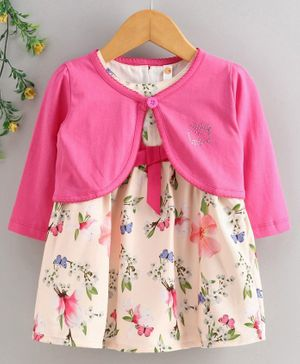 Dew Drops Cap Sleeves Frock with Full Sleeves Shrug Floral Print - Peach