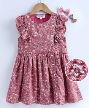 Hugsntugs Short Sleeves Floral Printed Dress With Buttons At Side Front - Pink