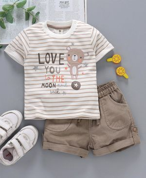ToffyHouse Half Sleeves Tee & Shorts Bear Patch - Beige White