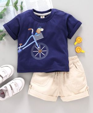 ToffyHouse Half Sleeves T-Shirt & Shorts Set Bicycle Print - Blue Fawn