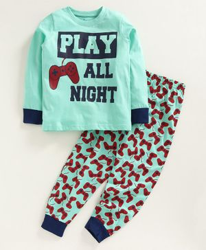 Kiddopanti Play All Night Printed Full Sleeves Night Suit - Green & Red