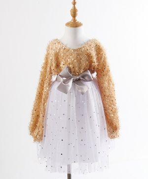 Kookie Kids Full Sleeves Sequin Party Frock - Brown White