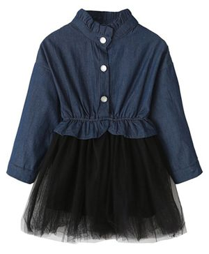 Kookie Kids Full Sleeves Solid Frock - Navy Blue