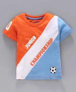 Babyhug Half Sleeves T-Shirt Championship Print - Orange Blue