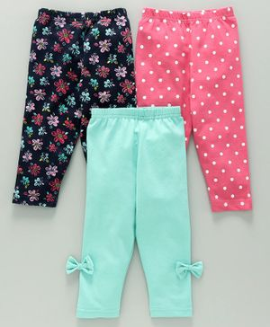 Babyhug Full Length Leggings Pack of 3 - Pink Blue