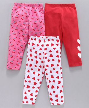 Babyhug Full Length Leggings Heart & Cherry Print Pack of 3 - Red Pink