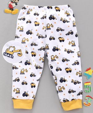 Babyhug Full Length Lounge Pant Construction Vehicle Print - White Yellow