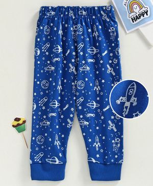 Babyhug Full Length Lounge Pant  Space Print - Blue