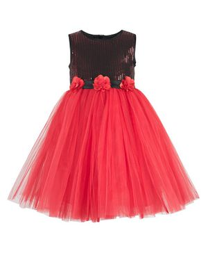 Toy Balloon Sleeveless Sequin Detailing Tutu Flared Dress - Red