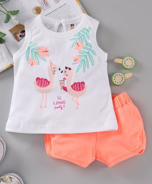 ToffyHouse Sleeveless Tee & Shorts Flamingo Print - White Orange