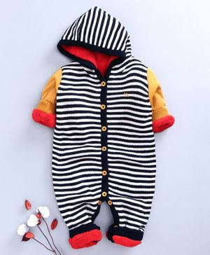 Yellow Apple Full Sleeves Winter Wear Hooded Romper - Navy Yellow