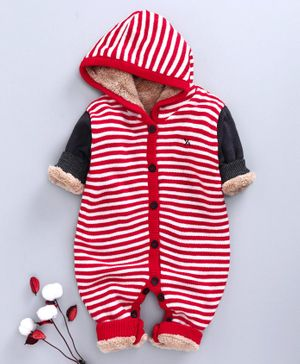 Yellow Apple Full Sleeves Winter Wear Hooded Romper - Navy Red