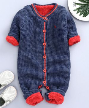 Yellow Apple Full Sleeves Winter Wear Romper - Navy