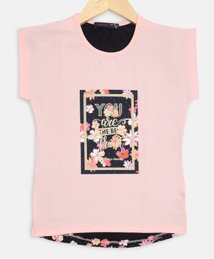 Ziama Front Back Printed Short Sleeves Top - Pink
