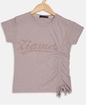 Ziama Short Sleeves Printed Top - Grey