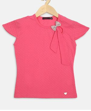Ziama Cap Sleeves Bow Decorated Top - Pink