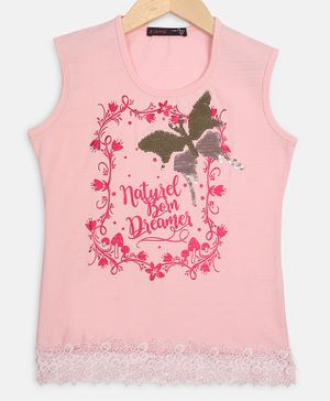 Ziama Butterfly Print Sleeveless Top - Light Pink