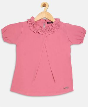 Ziama Short Sleeves Pearl Detailed Top - Pink