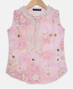 Ziama Sleeveless Floral Print Top - Pink