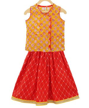 Campana Sleeveless Lotus Flower Printed Top With Skirt Set - Mustard & Red