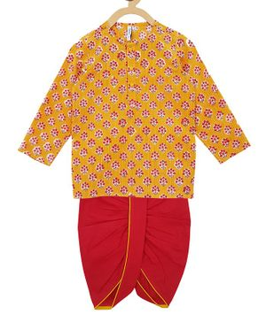 Campana Full Sleeves Small Flowers Printed Kurta With Dhoti - Mustard & Red