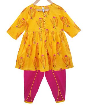 Campana Three Fourth Sleeves Floral Printed Kurta & Dhoti Set - Yellow & Pink