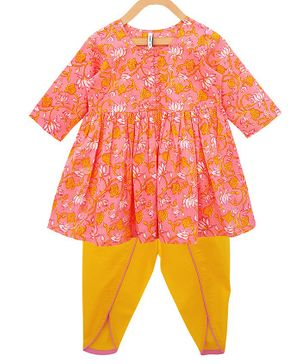 Campana Three Fourth Sleeves Flowers Printed Kurta & Dhoti Set - Pink & Yellow