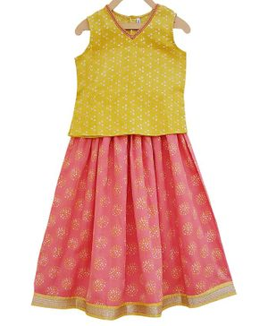 Campana Sleeveless Printed Top With Skirt Set - Peach & Yellow