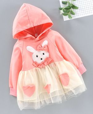 Kookie Kids Full Sleeves Hooded Frock Bunny Embroidered Patch - Pink