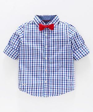 Babyoye Cotton Full Sleeves Checked Shirt with Bow - Blue