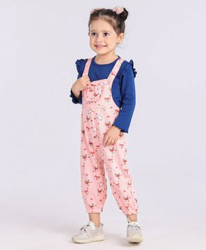 Babyoye Girls Cotton  Dungaree PINK 9-12M