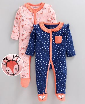 Babyoye Full Sleeves Cotton  Sleepsuit Animal Print Pack of 2 - Navy Orange