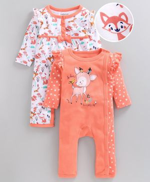 Babyoye Full Sleeves Cotton Romper Animal Print Pack of 2 - White Peach