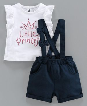 Babyoye Cotton Short Sleeves Top with Shorts & Suspenders Little Princess Print - White Blue