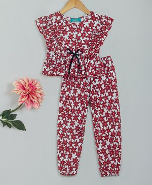 Tiara Short Sleeves Flowers Printed Ruffle Top & Pants Set - Red