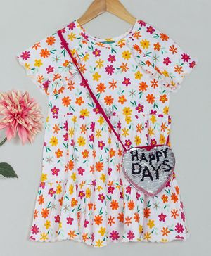 Tiara Half Sleeves Tiered Flowers Printed Dress With Sequined Sling Bag - Multicolor