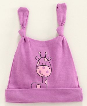 Babyhug 100% Cotton Cap Giraffe Print Purple - Diameter 11.5 cm
